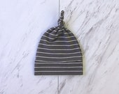 Gray stripes cotton beanie Newborn hat Top knot baby beanie Gift for new baby boy Take home hat Infant hat Charcoal stripe beanie