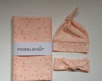 Baby girl pink moon and stars receiving blanket with bow swaddle set, blanket for infant, choose your hat or bow, Pebblehut // Dreamer