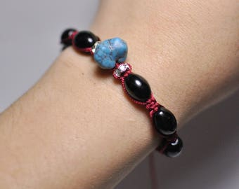 Chakra Macramé Shamballa Bracelet Handmade Adornment with Natural Black Agate and Turquoise Howlite Gemstone Bracelet 16 cm, 7 Beads 12x8 mm