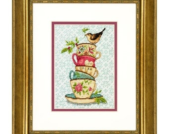 Dimensions Stacked Tea Cups Counted Cross Stitch Kit