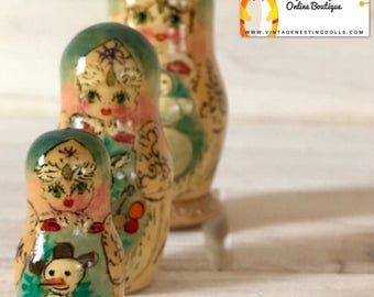 Christmas Nesting Dolls, Stunning Winter-Themed Matryoshka with Snowman, Girl with Gray Rabbit. Miniature Wooden Doll, Russian Stacking Doll