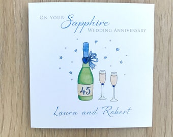 gifts for 45th wedding anniversary. personalised handmade 45th anniversary card - sapphire gifts for wedding