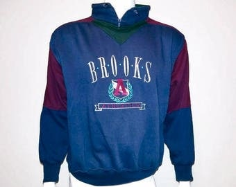 Vintage BROOKS Sweater - Athletic wear- Zip up - Pull over - Color Navy Purple Green - Size Large