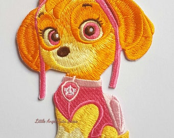 """Paw Patrol Skye Patch. Large Embroidery Patch. Iron On Patch. Sew On Patch. Embroidery Badge. Applique Badge. Handmade 5"""" LARGE Patch"""