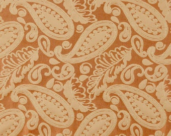 SCALAMANDRE ANGELIQUE PAISLEY Silk Damask Fabric 10 Yards Rust Gold