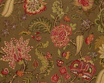 SCHUMACHER JACOBEAN TREE of Life Linen Fabric 10 yards Multi Brown