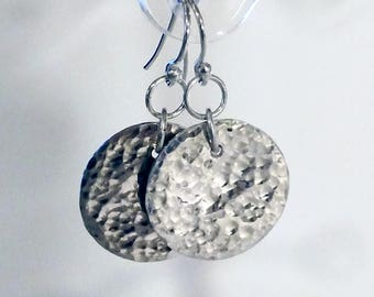 Handmade Unique Artisan Sterling Silver Hammered Disc Earrings - Bridesmaids Gift - Mothers Day - Anniversary