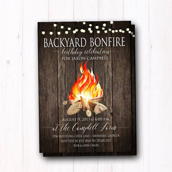 Bonfire Invitation Rustic Birthday Party Invite
