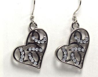 Silver Heart Earrings, Love Earrings