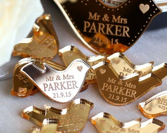 Engraved Wedding Decor, Wedding Table Decorations, Personalised Table Confetti, Wedding Favours, Mr & Mrs Personalized Favors, Centrepiece