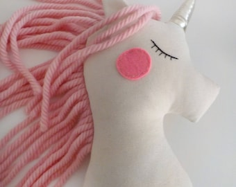 Stuffed Unicorn doll cushion baby girl white pink nursery decor pillow, unicorn plush animal toy party decor, baby shower birthday gift