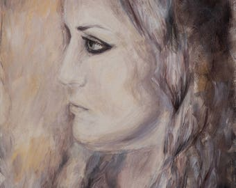 Mystic, dreamy girl portrait,  impressionist, beautiful, original, one of a kind exclusive painting