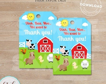 50% OFF SALE Farm Favor tags, Barnyard Gift tags, Old McDonald, Barn Animals Sticker tags, Thank you tags, digital gift tags, INSTANT Downlo