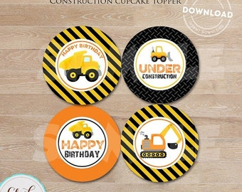 50% OFF SALE CONSTRUCTION cupcake toppers, Dump Truck Cupcake Topper, Construction Party Circles, Birthday Party Decorations, Instant downlo