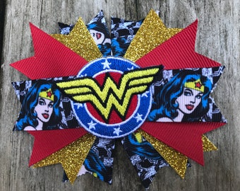 Wonder Woman hair bow - wonder woman hair clip - wonder woman cosplay - wonder woman dress up - wonder woman costume - wonder woman