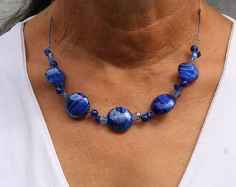 Dark blue short necklace