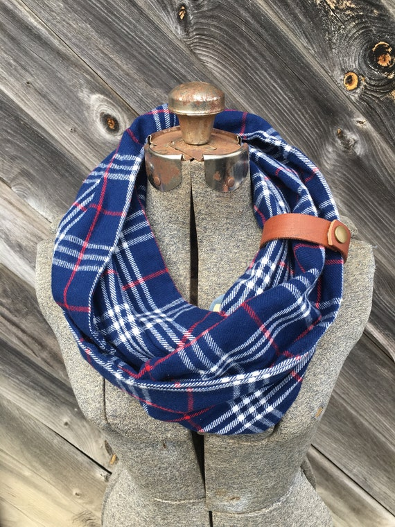 Blue and White plaid flannel eternity scarf with a brown leather cuff - soft, trendy