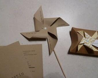 Menu kraft origami wind mill