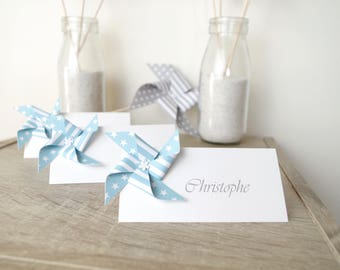 Mark up striped patterned windmill / star sky blue for wedding table decoration - christening