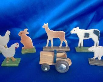 6 Vintage German Wooden Farm Animals + Wooden Tractor