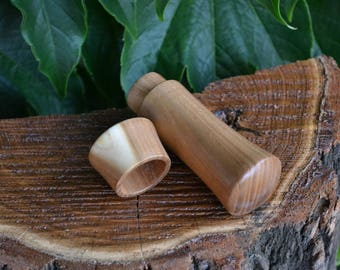 Silverberry ( Wild Olive) handmade needle case, hand turned toothpick holder, wooden pocket-sized pills case