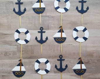 Nautical Cupcake Toppers (12 included in price)