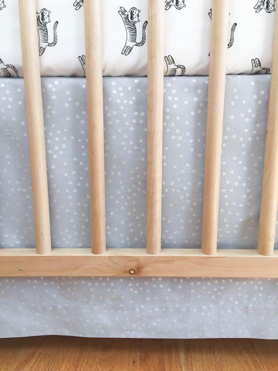 Crib Skirt - Sleep Tight Stardust in Grey Pearlescent - MADE-to-ORDER - grey crib skirt, star crib skirt, silver crib bedding, baby bedding