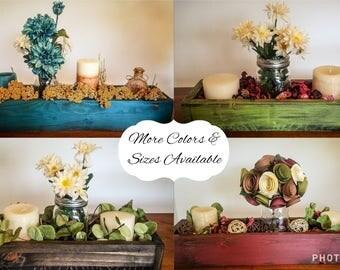 Rustic Wooden Box Centerpiece Decor- Multiple Sizes & Colors available! Planter box, wedding decor