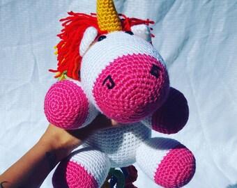 Large Crochet Unicorn, Crochet unicorn, amigurumi unicorn, unicorn plush, unicorn toy, unicorn doll