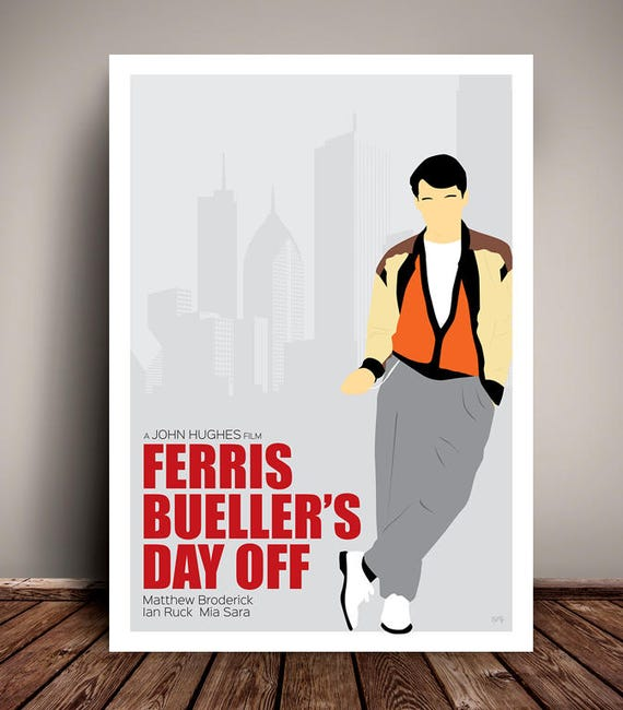 Ferris Bueller's Day Off // John Hughes // Minimalist Movie Poster // Unique A4 / A3 Art Print
