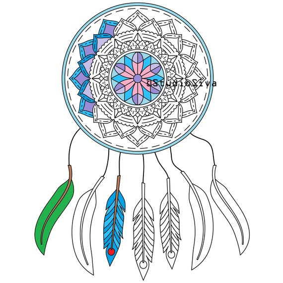 Pictures Of Dream Catchers: Easy Dream Catcher Mandala / Coloring Page / Instant Download