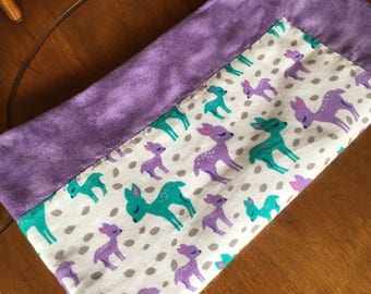 Gender Neutral Purple Teal Woodland Deer Receiving Swaddling Baby Blanket