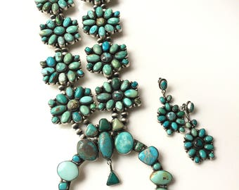 Huge Signed Native American Sterling Silver Turquoise Squash Blossom Necklace by Lydia Begay