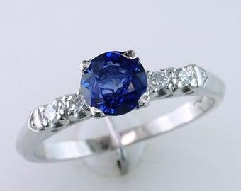 Art Deco 1.10ct Sapphire & Diamond Platinum Vintage Antique Engagement Ring