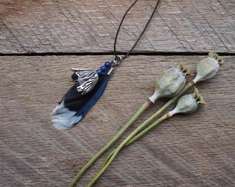 pendant, feather and flower pendant, necklace pendant