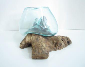 "Molten Glass on Driftwood Base-8.5""x 5""-Air Plant Terrarium-Fish Bowl-Eco Planter-Hand Blown Terrarium Glass-Driftwood Decor-Unique Gifts"