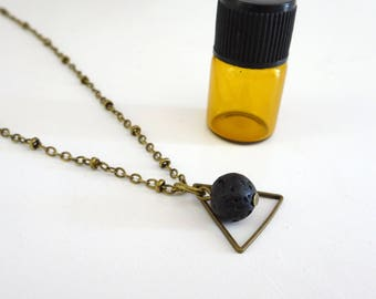 Lava Diffuser necklace, Triangle Necklace, Lava Stone Necklace, Essential Oil Diffuser jewelry, Aromatherapy necklace, Lava Necklace