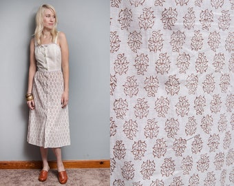Vintage 1970's I India Cotton | Block Print | Midi | Dress | XS