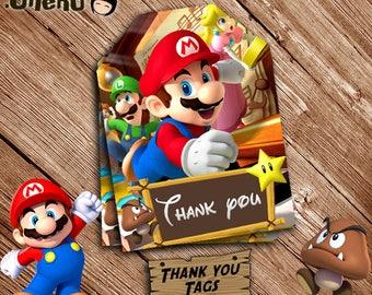 SALE Super Mario Bros Printable Thank You Tag - Mario Favor Tags - Mario Party Favors - Mario Decoration - Printable Tags - Mario Bag Tag