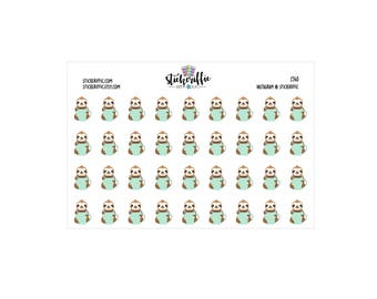 Coffee Loving Sloth Stickers - S540