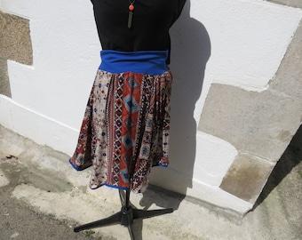 asymmetric blue and orange skater skirt size 38-40
