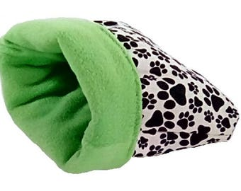 """Small 16"""" x 18"""" green pawprint dog bed or cat bed, plush, reversible, 3 layers, blue"""