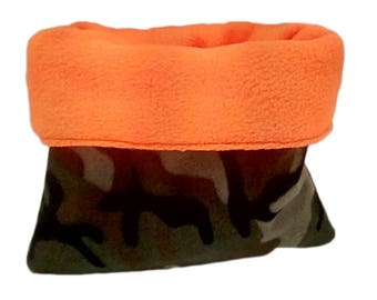 Brown and camo dog bed or cat bed, medium, plush, reversible, 3 layers