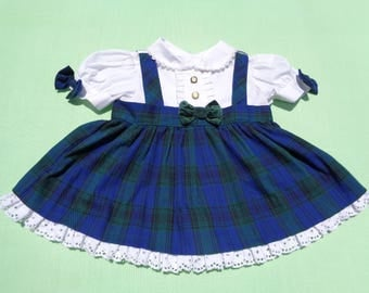 vintage baby togs baby girls one piece dress size 6-9 months see measurements plaid with white bodice eyelet trim