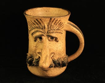Vintage Large Stoneware Mug Stein Man's Face with Mustache Hand Made