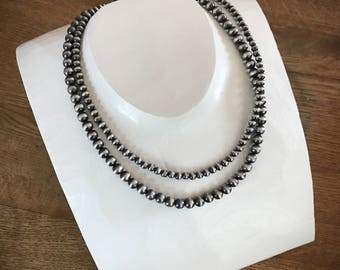 Navajo Pearl necklace silver beads southwestern jewelry multi strand necklace 5mm 7mm