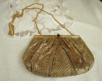 Snake Skin Crossbody Bag Vintage 1980's Dokkim Light Brown Reptile Skin Evening Bag Purses Accessory