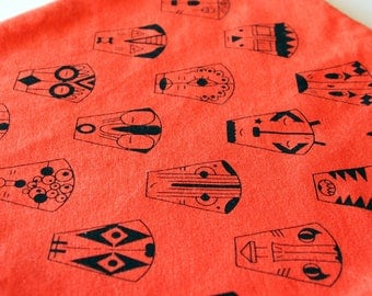 Square blanket orange cotton organic screen printed by hand