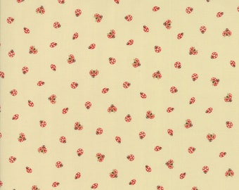 Momo - Lucky Day - Ladybugs - Cream - Moda Fabrics - Fabric by the Half Yard