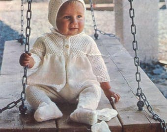 Knit Baby Coat Leggings Bonnet Hood and Mitts Pram Set PDF Chest size 18 in. to 22 in /ohhhbabybaby/ Instant Download pdf  vintage pattern
